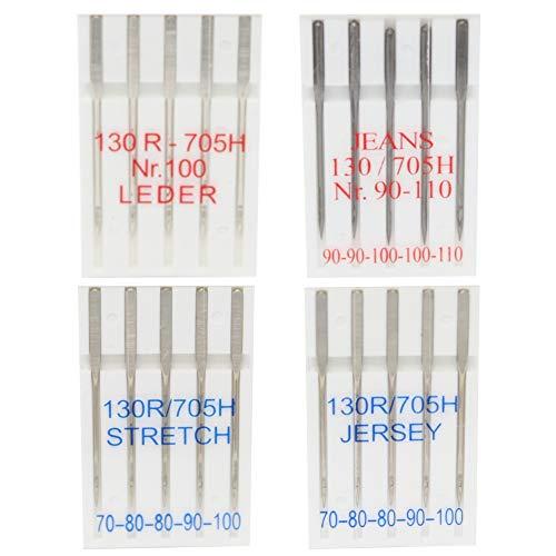 20 Nähmaschinennadeln für Jersey, Leder, Stretch und Jeans - je 5 Stück...